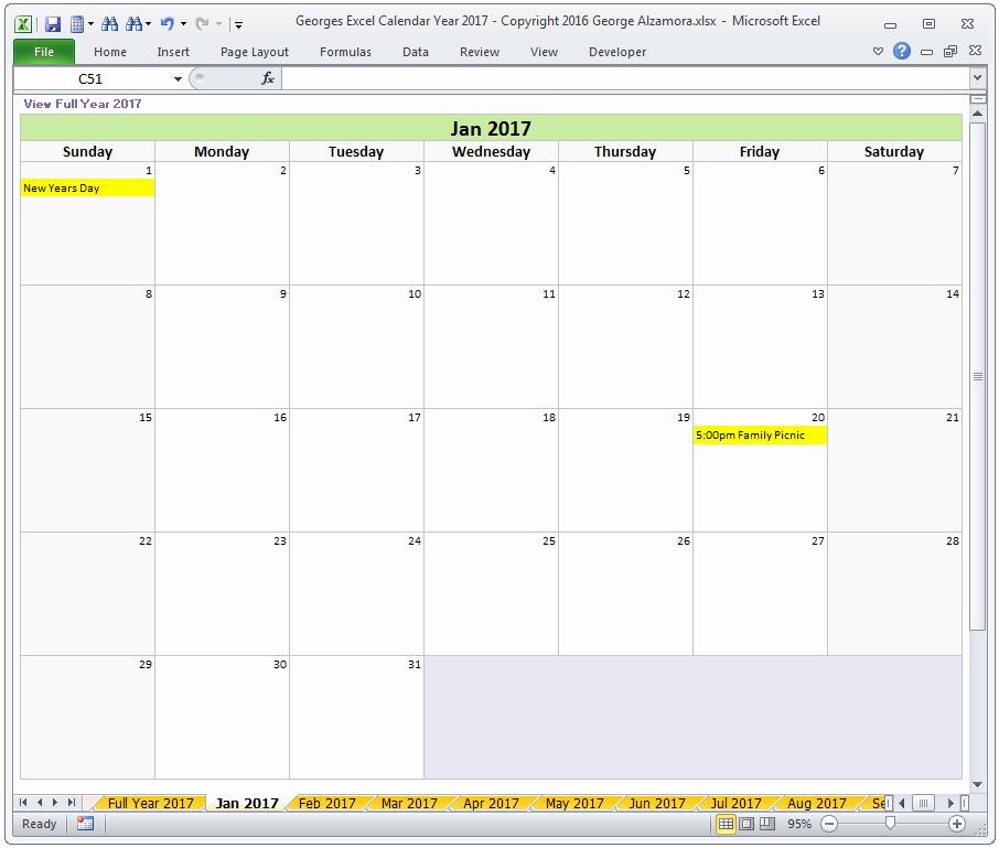2017 Monthly Calendar Excel