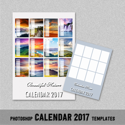 "2017 Monthly Calendar Shop Template 5x7"" Universal"