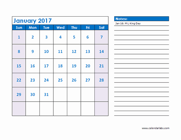 2017 Monthly Calendar Template 04 Free Printable Templates