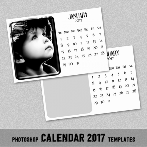 "2017 Monthly Calendar Template 4x6"" Shop or"