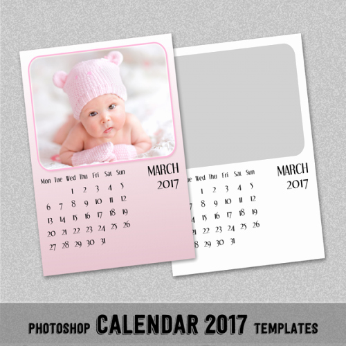 "2017 Monthly Calendar Template 5x7"" Shop or"