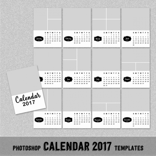 2017 Monthly Calendar Template Borderless 5x7