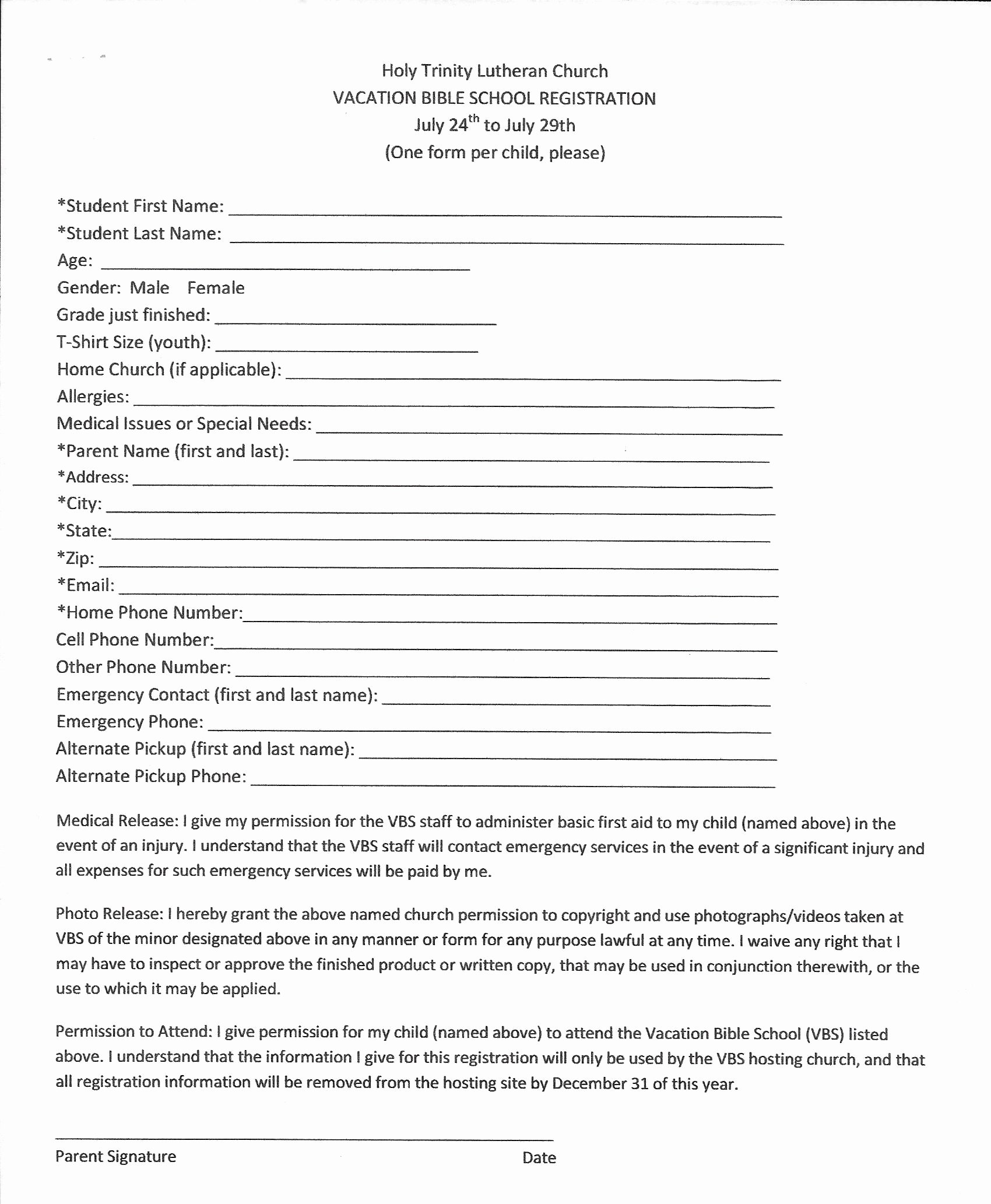 2017 Vbs Registration form