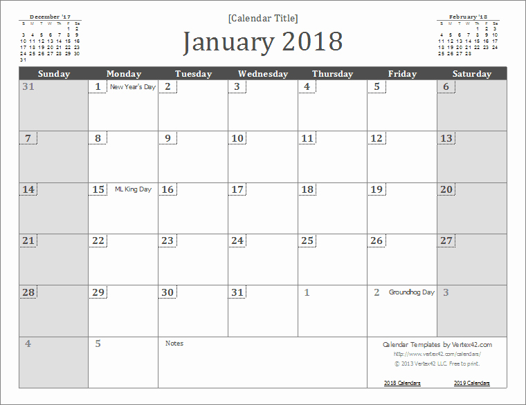 2018 Calendar Template Google Sheets