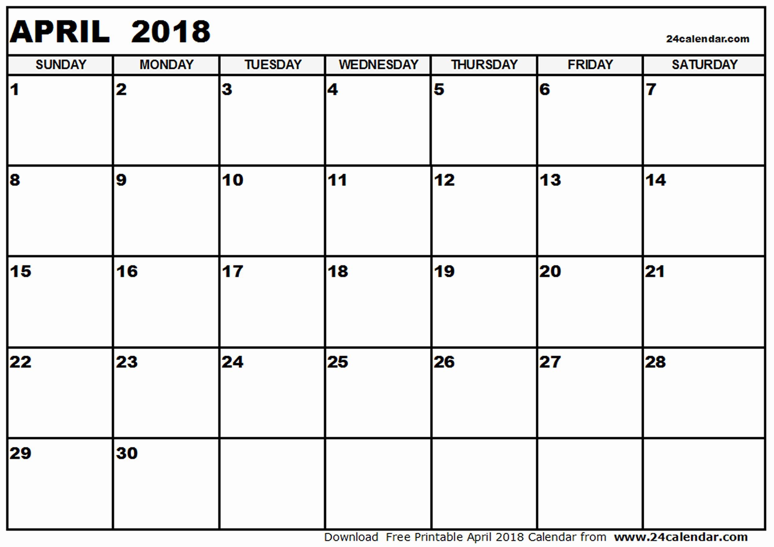 2018 Calendar Word