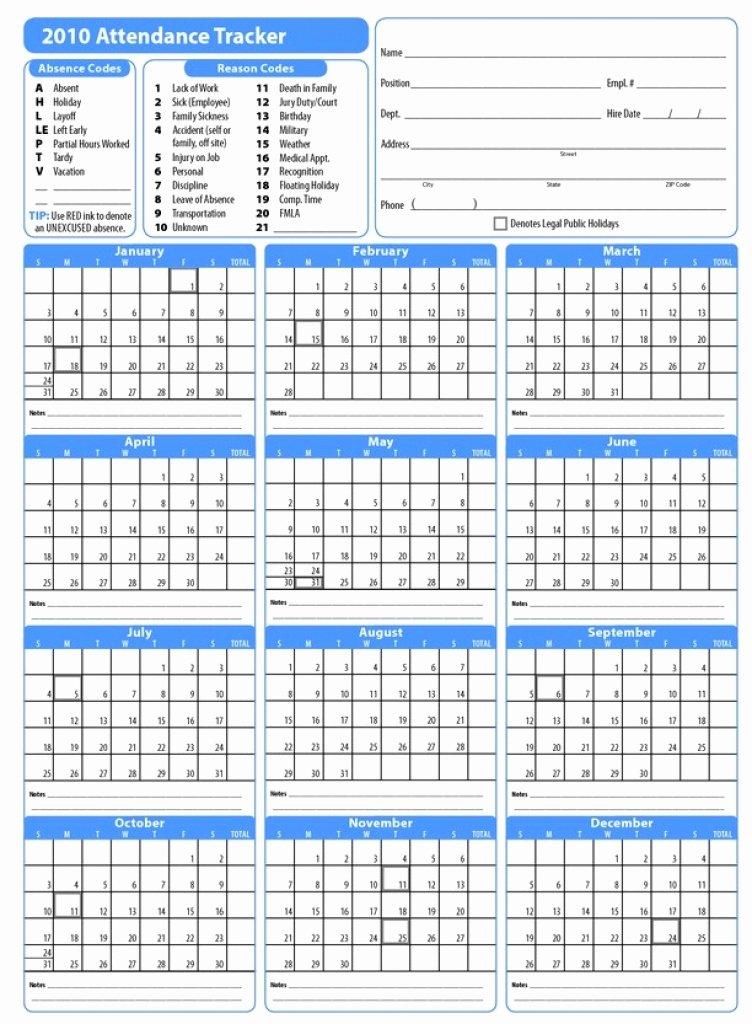 2018 Employee attendance Tracking Calendar