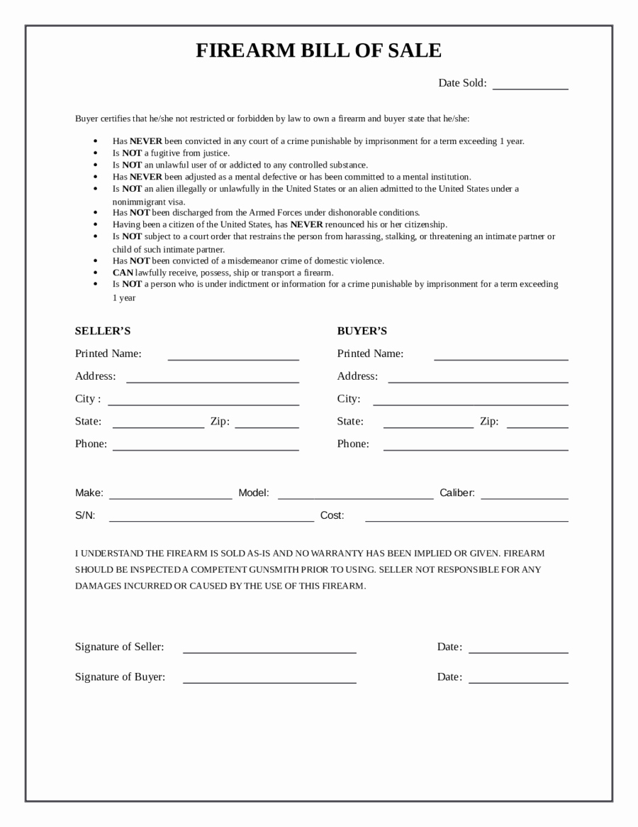 2018 Firearm Bill Of Sale form Fillable Printable Pdf