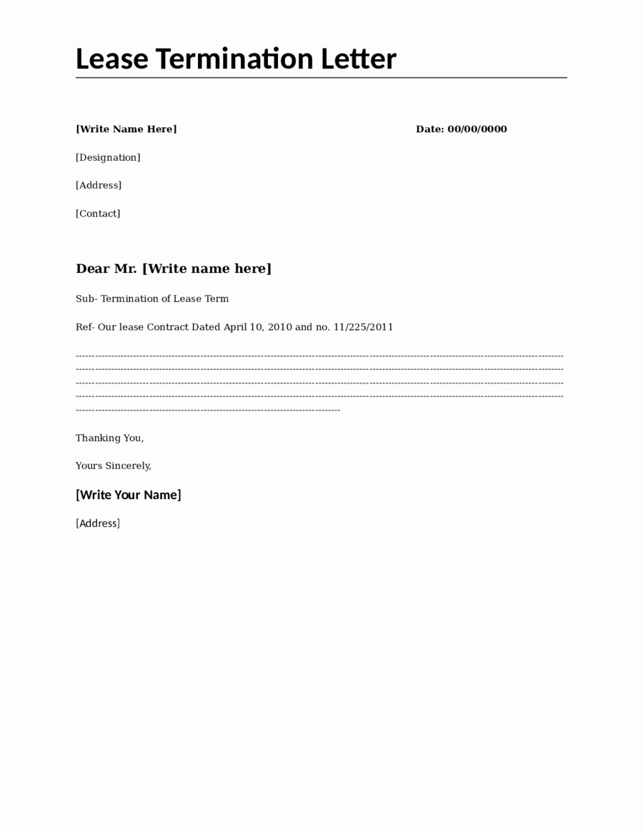 2018 Lease Termination form Fillable Printable Pdf