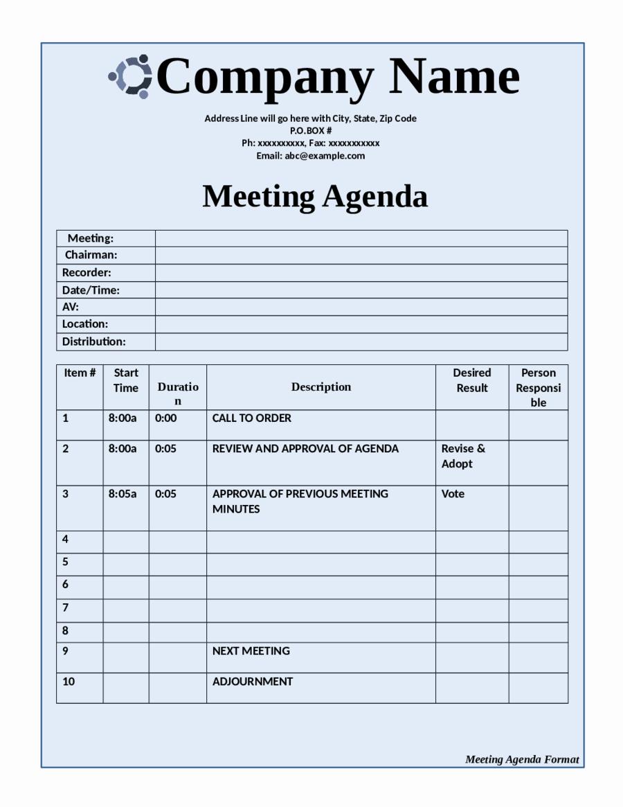 2018 Meeting Agenda Template Fillable Printable Pdf