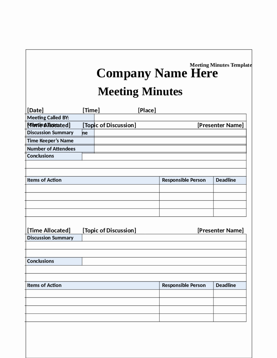 2018 Meeting Minutes Template Fillable Printable Pdf