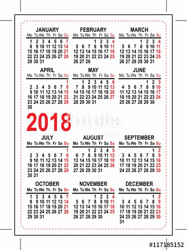 2018 Pocket Calendar – Templates Free Printable
