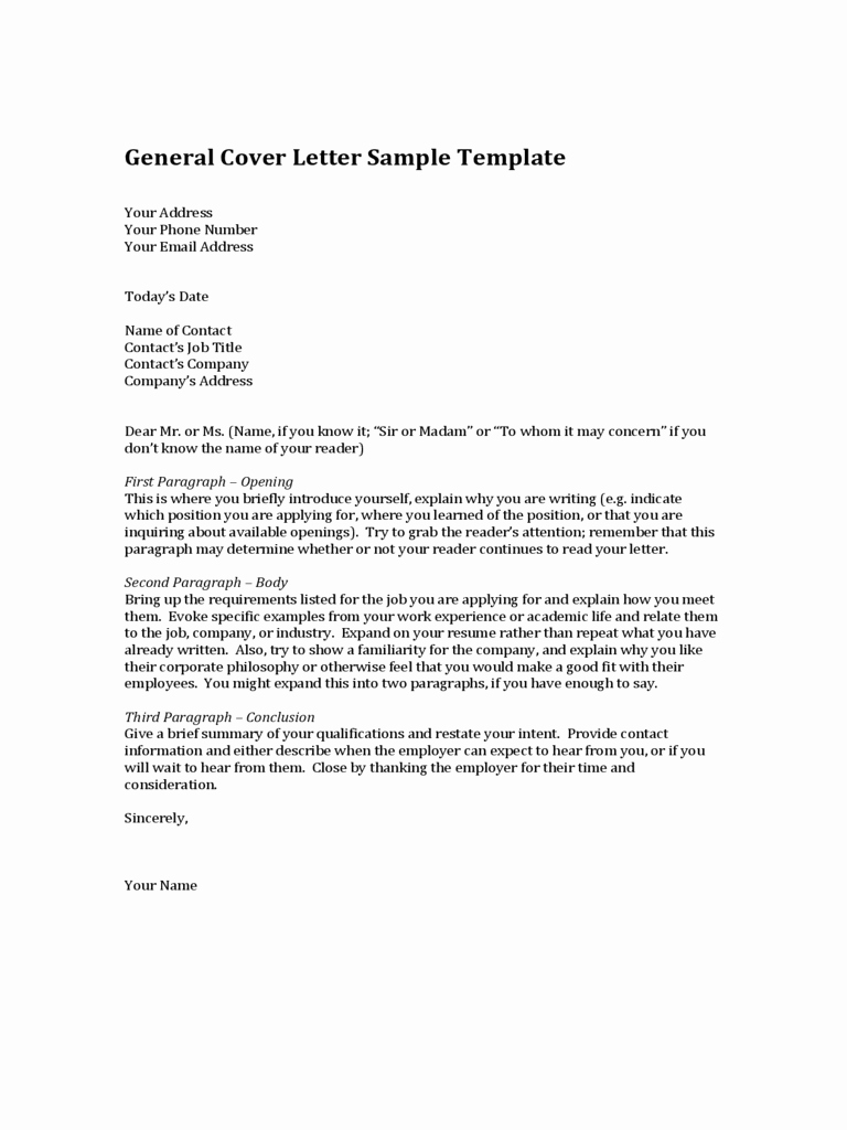 2019 General Cover Letter Template Fillable Printable