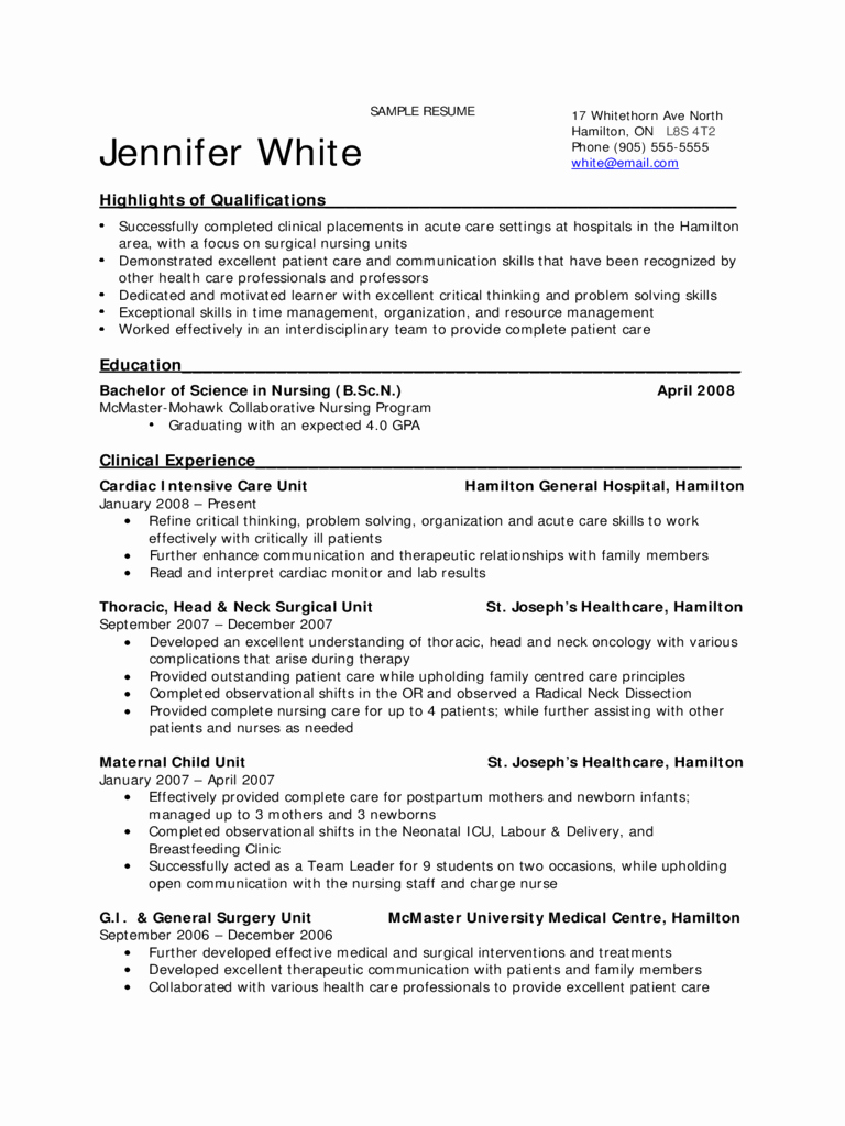 2019 Nursing Resume Template Fillable Printable Pdf