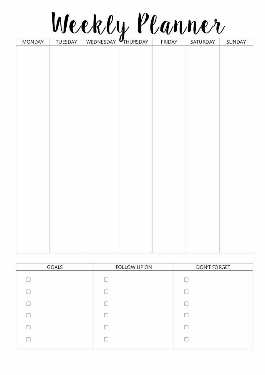 2019 Weekly Planner Template Fillable Printable Pdf