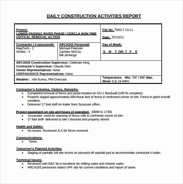 21 Daily Construction Report Templates Pdf Google Docs