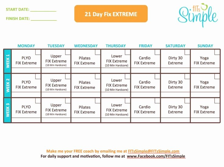 21 Day Fix Extreme Workout Calendar