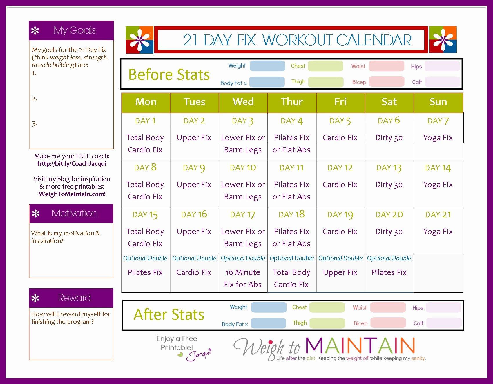 21 Day Fix Workout Calendar