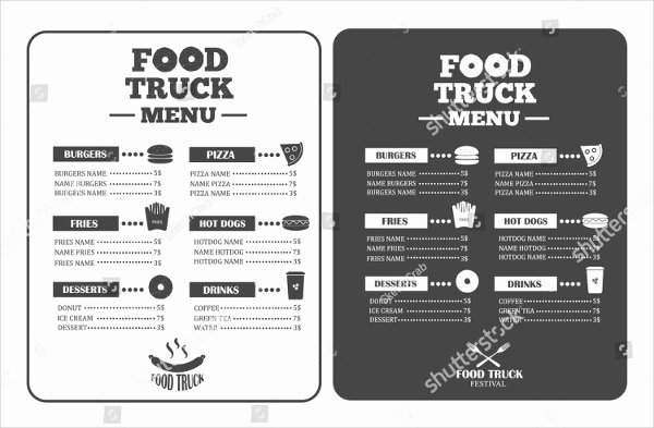 food truck menu templates