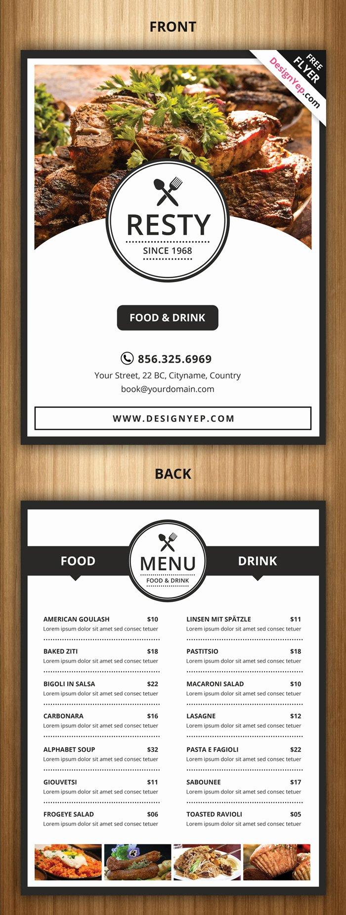 21 Free Food Menu Templates for Restaurants Designyep
