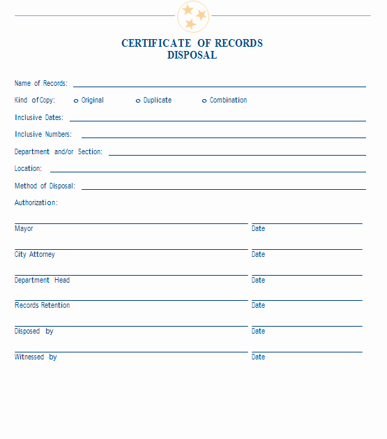 21 Of Records Destruction Log Template