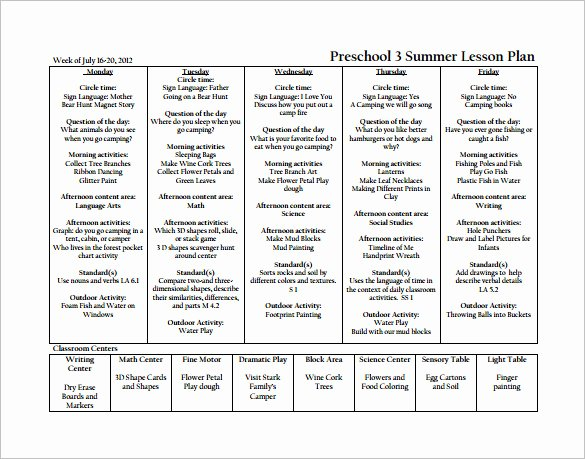 21 Preschool Lesson Plan Templates Doc Pdf Excel