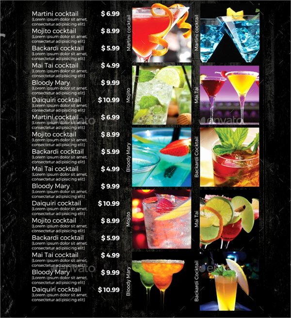 21 Sample Drink Menu Templates