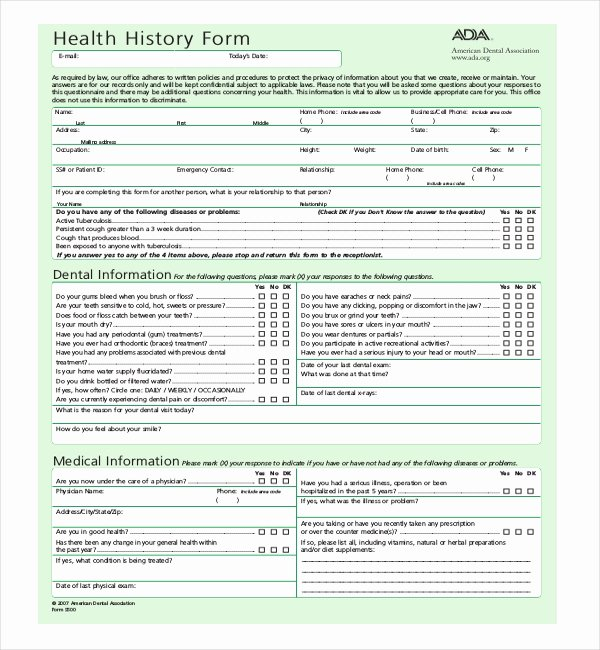 21 Sample Medical History forms