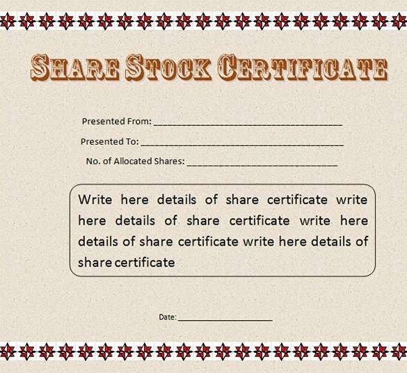 21 Stock Certificate Templates Word Psd Ai Publisher