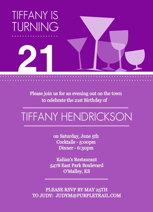 21st Birthday Invites Template