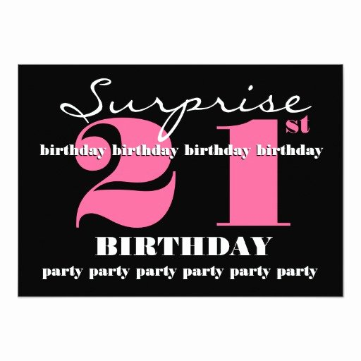 """21st Surprise Birthday Party Invitation Template 5"""" X 7"""