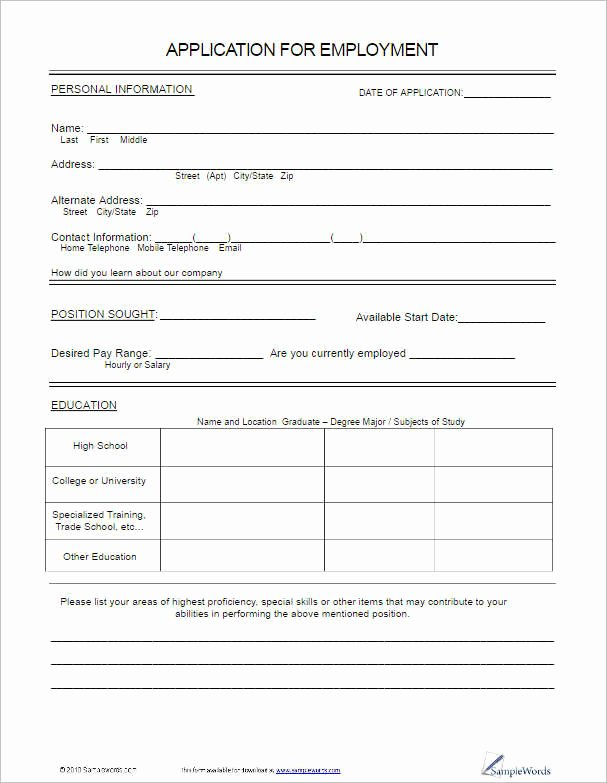 22 Employment Application form Template Free Word Pdf