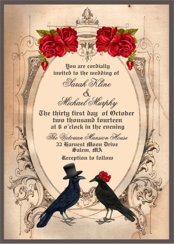 22 Halloween Wedding Invitation Templates – Free Sample