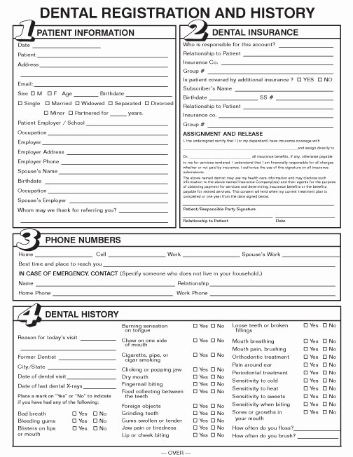 22 Of Surgery for oral Health History form Template