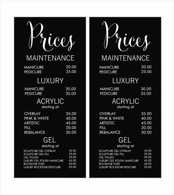 22 Price Menu Templates – Free Sample Example format
