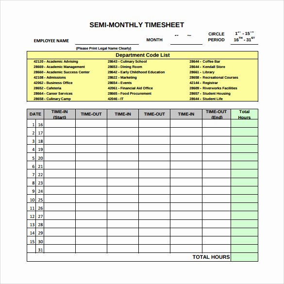 22 Sample Monthly Timesheet Templates to Download for Free