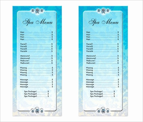 22 Spa Menu Templates Psd Eps
