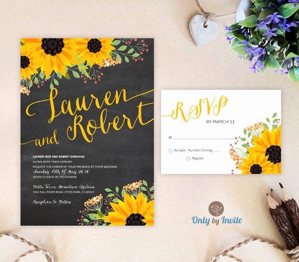22 Sunflower Wedding Invitation Templates – Psd Ai Word