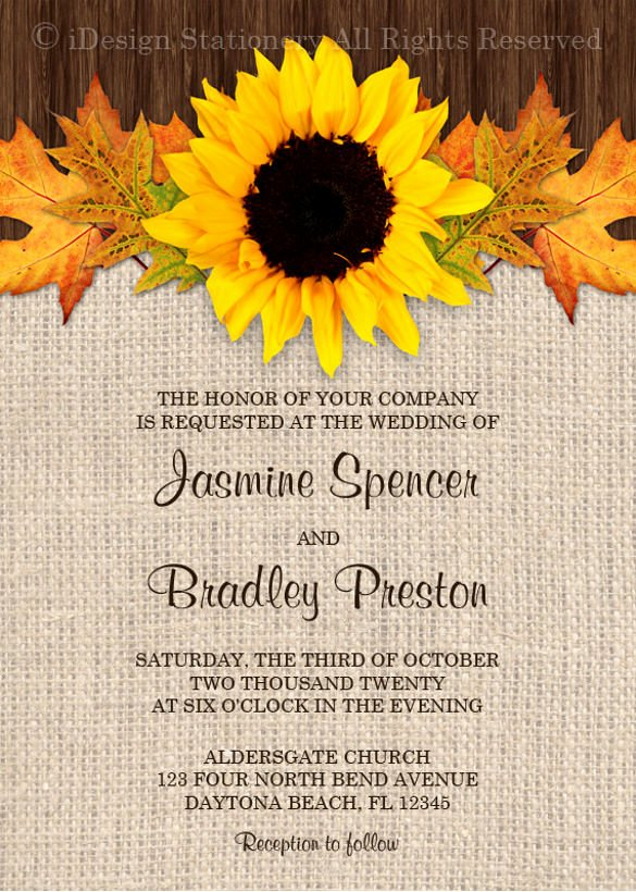 22 Sunflower Wedding Invitation Templates – Psd Ai Word