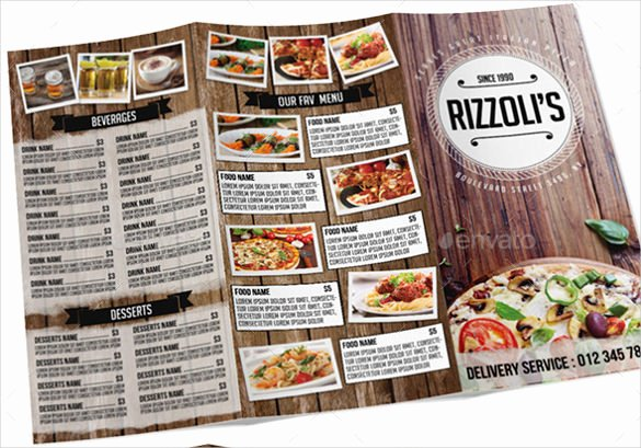 sample tri fold menu