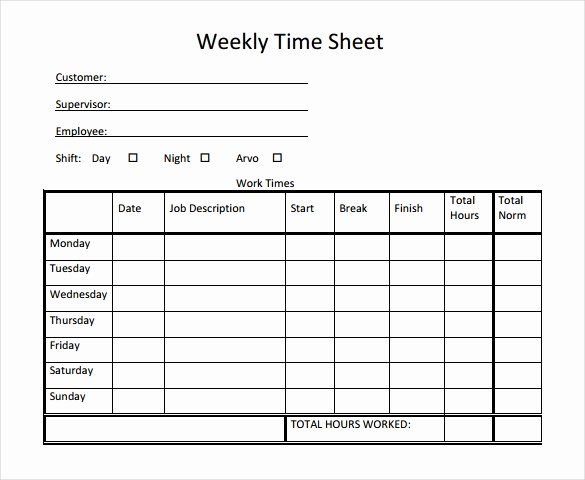 22 Weekly Timesheet Templates – Free Sample Example