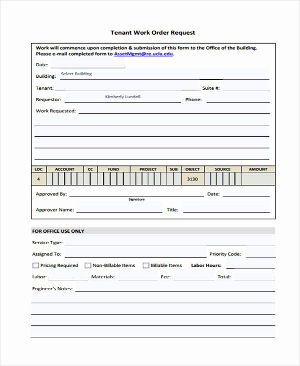 22 Work order form Template
