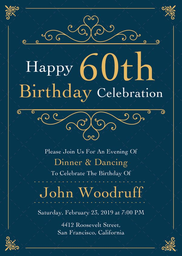 23 60th Birthday Invitation Templates – Psd Ai