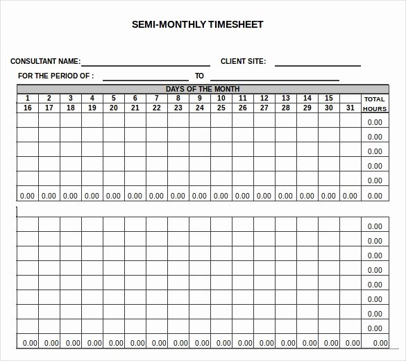 23 Monthly Timesheet Templates Free Sample Example