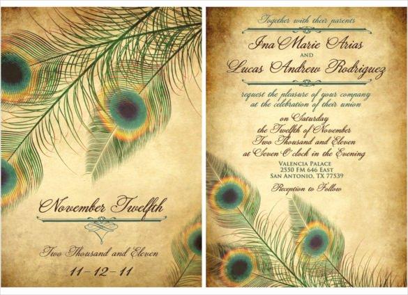 23 Peacock Wedding Invitation Templates – Free Sample