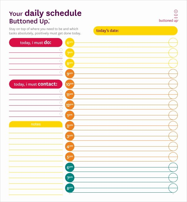 23 Printable Daily Schedule Templates – Pdf Excel Word