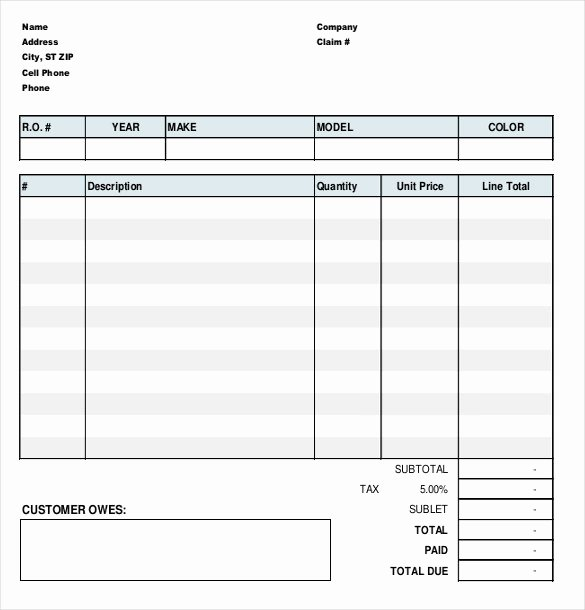 23 Repair order Templates – Free Sample Example format
