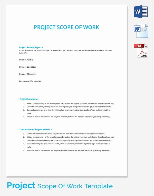 23 Sample Scope Of Work Templates to Download