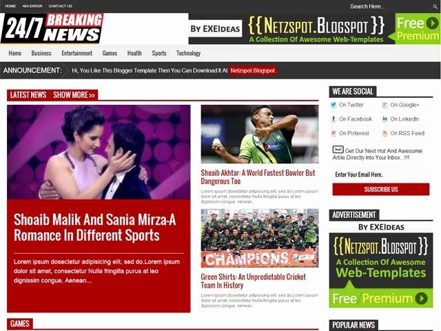 24 7 News A Free Premium Responsive Blogger Template