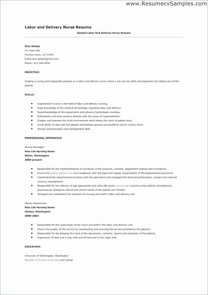 24 Awesome Labor and Delivery Nurse Resume