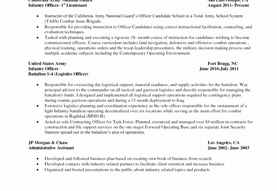 Military Resume Template | 24 Awesome S Military To Civilian Resume Template Latter